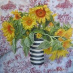 Torn Fabric Sunflowers by Ann Rhodes