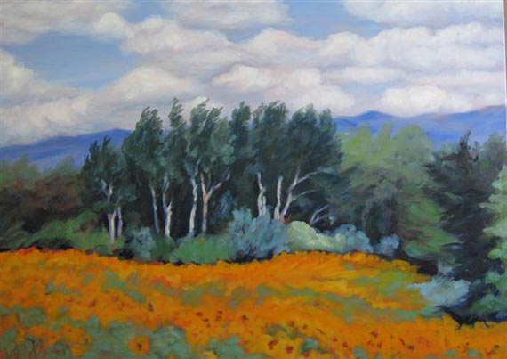 Birches by the Sunflower Field by Ann Rhodes