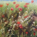 Poppies, Red, White and Green by Ann Rhodes