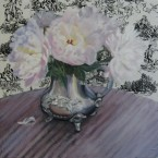 Torn Fabric, Peonies by Ann Rhodes