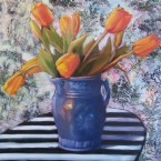Torn Fabric, Tulips by Ann Rhodes