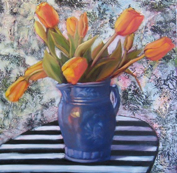 Torn Fabric, Tulips by Ann Rhodes