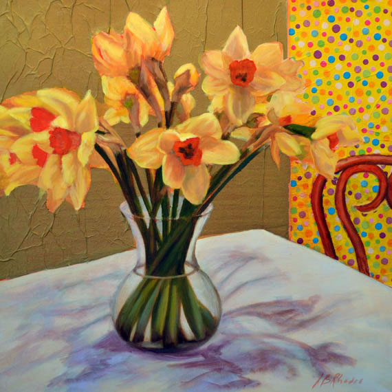 Polka Dots and Daffodils by Ann Rhodes