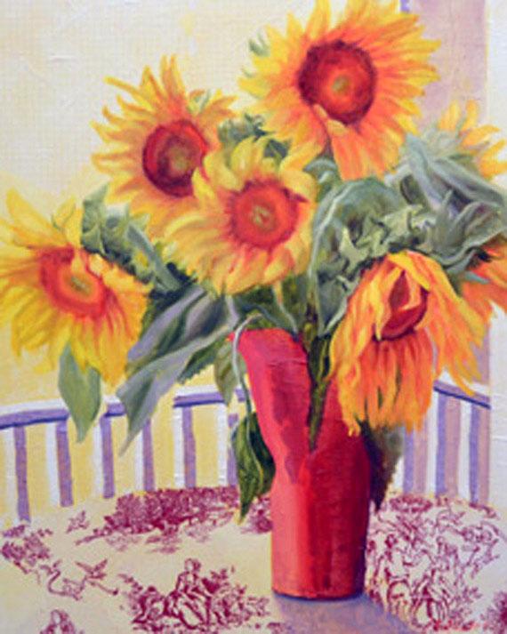 Sunflowers on the Porch. Fine Art by Ann B Rhodes.