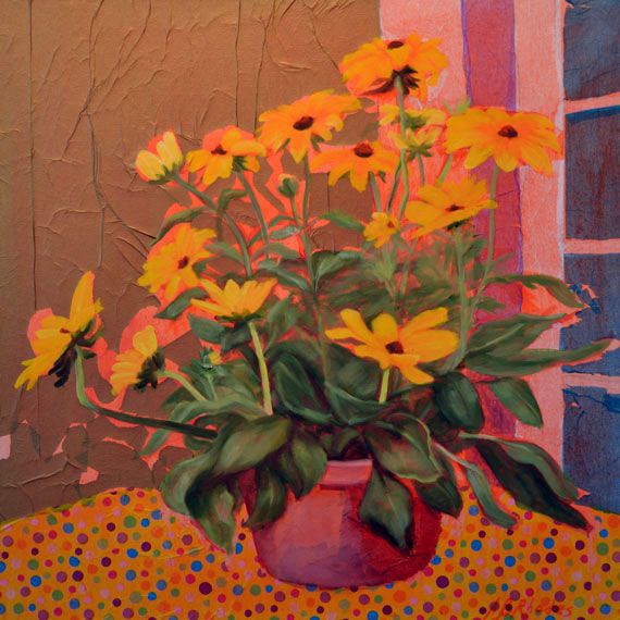 Yellow with Polka Dots. Fine Art by Ann B Rhodes