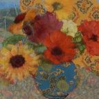 Pot of Zinnias and Sunflowers